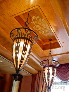 Venetian Plaster tray ceiling with a bas-relief stencil.