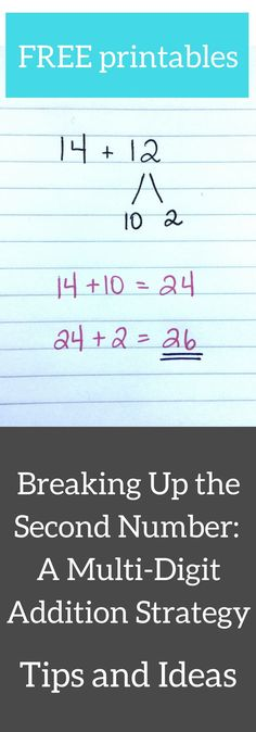 Breaking up the second number is a mental math strategy for addition. Some students may find this method more efficient than left-to-right addition. This strategy involves breaking up the second number in an equation into more manageable parts. Like many other mental math strategies, this strategy encourages students to think flexibly and to manipulate numbers in different ways. This is the big goal of mental math! Includes two FREE printable worksheets.