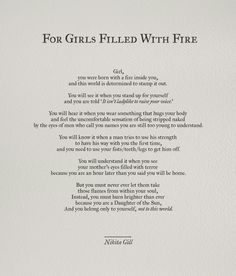 """For Girls Filled With Fire by Nikita Gill """"daughter of the Son"""" Poem Quotes, Words Quotes, Wise Words, Life Quotes, Sayings, Aries Quotes, Wild Girl Quotes, Qoutes, Aries Zodiac Facts"""