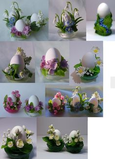"Plates for eggs: Flowers and holders are made of polymer clay. Undyed eggs are pierced, blown and nestled in the 'plates' or holders. ""There is a fairly long tradition of Easter eggs that are not thrown away but are kept in the home until the following Easter. They are a kind of guardian for your home from all sorts of hardships and hazards."" What a lovely custom!"