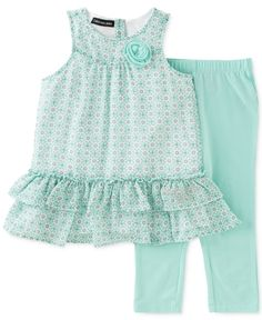 Calvin Klein Baby Girls' 2-Piece Mint Tunic & Leggings Set