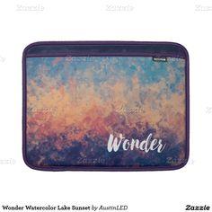 Wonder Watercolor Lake Sunset MacBook Sleeves Designed by AustinLED on www.zazzle.com/austinLED*/.