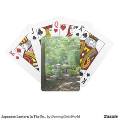 Japanese Lantern In The Forest Playing Cards