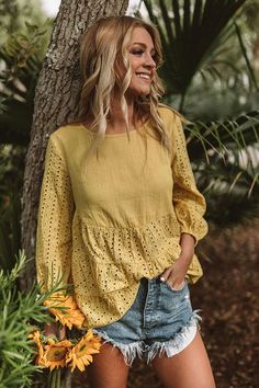 3ace2b133f The One And Only Eyelet Top in Yellow