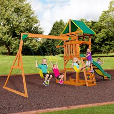 The Tucson outdoor wooden playset has a covered upper wooden deck that extends to cover the lower area as well. The wooden swing set has two belt swings, an acrobat bar, combo ladder/rock wall , Slide and snack stand.  Shop Here:  Play Now, Pay Later with #Afterpay #humm #zip and #Laybuy  #outdoor #play #equipment #kids #swing #slide #sandpit #fort #climb #toys #australia