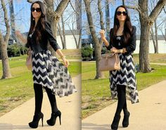 Mayte i think you look gorgeous wearing an asymmetrical  zig zag dress with opaque tights and black suede booties.