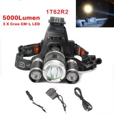 5000 LM LED Headlamp 3T6 / 1T6 2R2 USB Head Light Rechargeable Torch 3x XML T6 #Unbranded