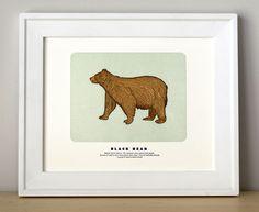 Black Bear Print ~ Hand illustrated then converted into a four color letterpress print. Quail Lane Press