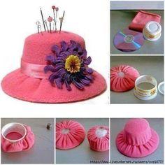alfilerero -sombrero reciclando Cd y taza plástica Pinterest Manualidades c97a8f5bff9