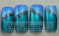 Blue and Teal Feathery Swirls Instant Acrylic Nail by dasimason, $10.00