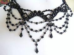 Black Clustered Bead Patterns Teardrop Victorian Choker Necklace BNIP | eBay