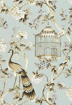 Wallcovering / Wallpaper | Oiseaux et Fleurs in Mineral | Schumacher