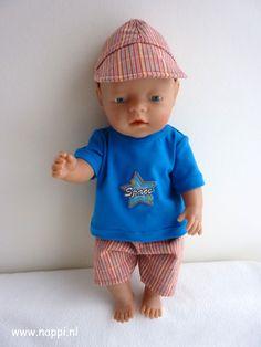Jongenskleding / Baby Born 43 cm | Nappi.nl eigen ontwerp Baby Born Clothes, Preemie Clothes, Doll Clothes, Amy, Dolls, Sewing, Handmade, Inspiration, Guys