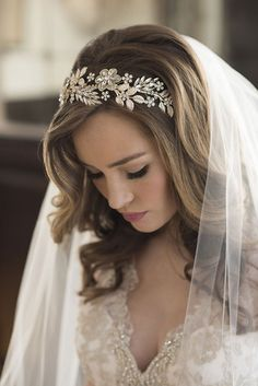 bel aire bridal accessories gilded curving headband metallic ribbon ties 6686 klk photography ebell wedding shoot zv