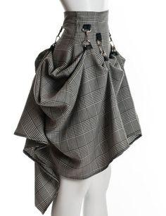 Gray Black Steam Punk Skirt | Long Skirt Skirt | skirt steampunk victorian party plaid | Chic | UsTrendy