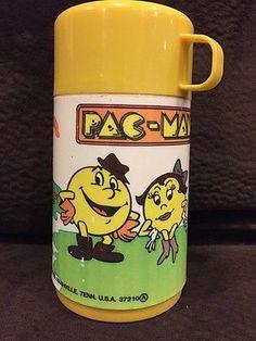 Vintage 1982 Pac Man Ms Pac Man Thermos Rare