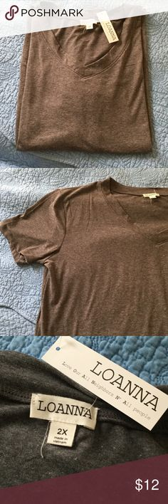 Women's Gray Short Sleeved V-Neck It's looks a bit brown in the pictures but this shirt is a dark gray. It is soooo soft!!! Tags still attached. loannna Tops Tees - Short Sleeve