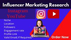 I will promote your business through instagram or you tube influencer marketing research if you find influencers. My services include creating a list of influencers that can be used to promote your business, product or website. In addition, I can identify instagram or you tube influencers that will perfectly fit your needs.