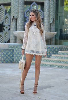 """justthedesign: """" Helena Cave Ramos is wearing a crochet and lace top from A Bad Day, denim shorts from Mango and wedges and handbag from Stradivarius """" Style Casual, Casual Looks, All About Fashion, Passion For Fashion, Boho Fashion, Womens Fashion, Fashion Trends, Fashion Bloggers, Latest Fashion"""