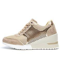 52db39923108 Femme Confortable Basket a Talon Compensee - Plateforme Sneakers pour Femmes  Talon de 6 cm Chaussure