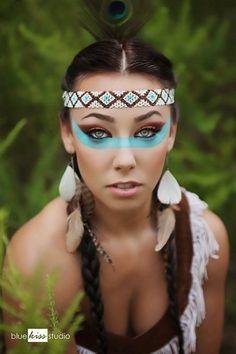 Wow klasse Make-up zum Karneval als Indianerin