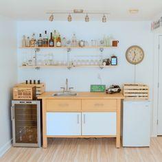 Hacking the IKEA VARDE. The making of a basement kitchenette/bar. Part - northstory Building A Basement, Basement House, Basement Apartment, Basement Bedrooms, Basement Bathroom, Kitchenette Ikea, Ikea Varde, Bar, File Cabinet Desk