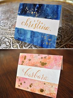 diy: watercolor & calligraphy place cards - Plurabelle Studio | Calligraphy & Graphic Design