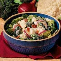 "Taste of Home's contest winning Parmesan Vegetable Toss Recipe -""The first time I made this salad it was with two others for a Fourth of July party years ago. This one disappeared long before the other two! It's great for feeding a hungry crowd. At our house, there's never any left over. I hope you enjoy it as much as we do."" -Judy Barbato, N. Easton, Massachusetts"