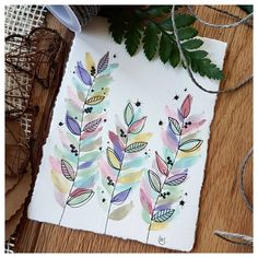 """[🇩🇪⬇️] Some pastel leaves 🌿 using the """"vintage pastels"""" palette by [Unpaid Ad] ~ Watercolor Projects, Watercolor And Ink, Watercolor Flowers, Watercolor Paintings, Watercolors, Watercolor Portraits, Watercolor Landscape, Abstract Paintings, Motif Floral"""