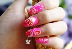 Today design birdy presents you 25 nail piercing ideas. We want to present you the new form of nail art which is quite wild and wacky. This nail art is king Hot Pink Nails, Pink Nail Art, Cute Nail Art, Beautiful Nail Art, Nail Piercing, Piercings, Valentine Nail Art, Holiday Nail Art, Valentines