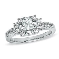 1 CT. T.W. Princess-Cut Diamond Engagement Ring in 14K White Gold