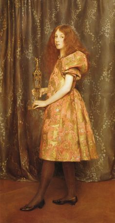 """Heir to All the Ages, by """"The Lady in Gold - A Portrait of Mrs. John Crooke"""", Thomas Cooper Gotch (British, 1854-1931)."""