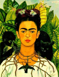 Frida Paintings Print featuring the painting Frida Kahlo Self Portrait With Thorn Necklace And Hummingbird by Pg Reproductions