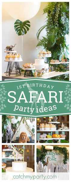 Check out this stylish minimalist safari 1st birthday party! The birthday cake with the giraffe topper is so cool! See more party ideas and share yours at CatchMyParty.com #safari #1stbirthday