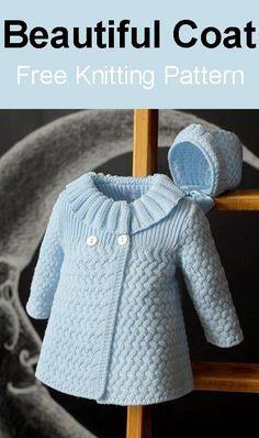 Beautiful Coat – Free Knitting Pattern - Knitting New Baby Cardigan Knitting Pattern Free, Kids Knitting Patterns, Baby Sweater Patterns, Knit Baby Sweaters, Knitted Baby Clothes, Knitting For Kids, Baby Patterns, Free Knitting, Girls Sweaters