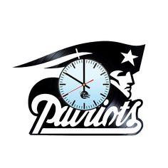 New England Patriots Logo Vector Handmade Vinyl Record Wall Clock Fan Gift - VINYL CLOCKS