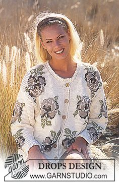 DROPS Cardigan in Paris with roses and crochet borders. Free pattern by DROPS Design. Intarsia Knitting, Sweater Knitting Patterns, Free Knitting, Drops Design, Gilet Crochet, Crochet Cardigan, Knit Crochet, Crochet Border Patterns, Crochet Diagram