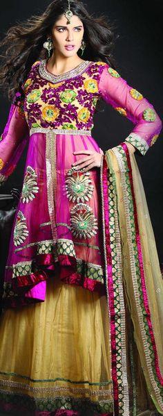 $196.93 Brown Net Chaniya Choli 18930 With Unstitched Blouse