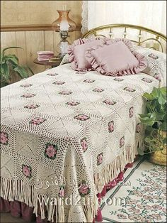 gorgeous bedspread would make the perfect heirloom keepsake wedding gift. This e-pattern was originally published in Heirloom Thread Bedspreads. Size: x Made with size 10 crochet cotton thread and size steel hook. Crochet Bedspread Pattern, Crochet Motifs, Crochet Stitches Patterns, Crochet Squares, Crochet Afghans, Unique Crochet, Vintage Crochet, Crochet Puff Flower, Granny Square Blanket