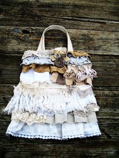 Ruffles and Lace Upcycled Tote Bag Purse in by FrillSeekerz, $46.00