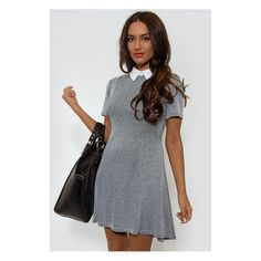f3ab16f3423 Womens Petite Grey Jersey Check Button Pinafore Dress in 2019 ...