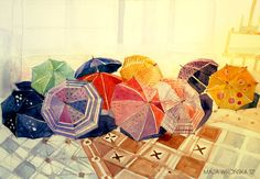 rainy day at my university by *takmaj on deviantART   watercolor art by Polish artist Maja Wrońska
