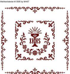 Weihkorbdecken Zählvorlage - Weihkorbdecken - Themen Catholic Crafts, Cross Patterns, Knitting Projects, Projects To Try, Cross Stitch, Embroidery, Crochet, Creative, Owl Art