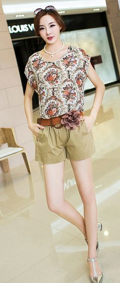 2in1 Set Printed Summer Top plus Shorts YRB0020