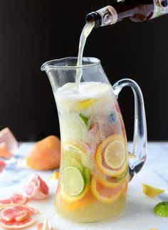 Meyer lemon shandy sangria. Tasty beer cocktail recipe for a spring or summer cocktail party.