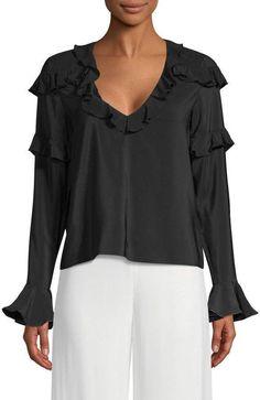 38f66db0ee1f20 Alexis Women s Silk Ruffle Blouse Fashion