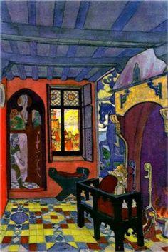 """Nicholas Roerich, King's Chamber Décor for Maeterlinck's drama """"Princess Maleine"""" 1913 Russian Painting, Russian Art, Kandinsky, Art Nouveau, Nicholas Roerich, Art Database, Art For Art Sake, Aesthetic Art, Medium Art"""