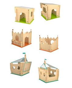 YONOPLAY by Shlomi Eiger and Roi Vaspi Yanay is a series of wooden structures for kids. Built from simple modules and packed in to a very flat package, easily hosted in every ordinary apartment Childrens Playhouse, Indoor Playhouse, Build A Playhouse, Wooden Playhouse, Kids Play Spaces, Cardboard Toys, Cnc Projects, Wood Toys, Kids Furniture