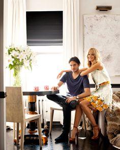Top and skirt, Proenza Schouler. Menswear: Shirt, T by Alexander Wang. Jeans, Levi's.   - HarpersBAZAAR.com