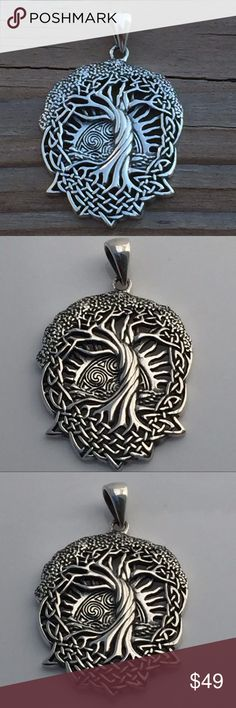 Solstice Tree Pendant .925 Sterling Silver Celtic Tree of Life - Solstice Tree - World Tree Pendant. Handcrafted in fine .925 Sterling Silver.  The Solstice Tree, or Tree of Life, is an important Celtic symbol representing the connection of all living things. With branches reaching high into the sky and roots reaching deep into the earth, the Tree of Life connects all things from the heavens above to the Earth below.  Designed by renowned artist Courtney Davis.  This Pendant is 1 5/8 inches…